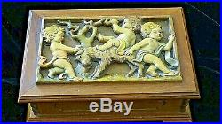 Reuge Swiss Music Jewelry Box walnut wood carved relief Anniversary Waltz