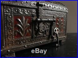Revival Casket Iron Spanish Italian Gothic 19th Century Antique Jewelry Box