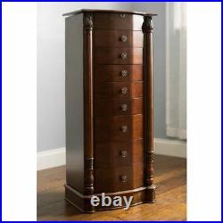 Rich Walnut Jewelry Armoire Freestanding Dresser Chest Storage Box Organizer Set