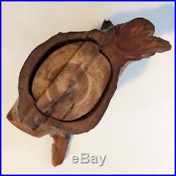 Richard Rothbard Wood Carved Puzzle Limb Box Tree Stump Trinket Jewelry Vintage