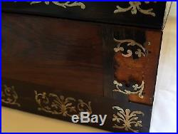 Rosewood wood vintage Victorian antique sewing / jewellery box