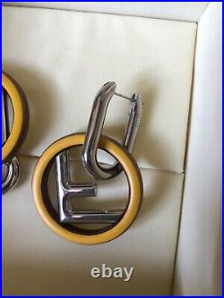 SOLD OUT F Is For Fendi Silver Tone Wood And Enamel Earrings With Original Box