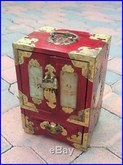 SPECTACULAR Antique/Vintage Chinese Wooden Jewelry Box Carved Stone w LOCK