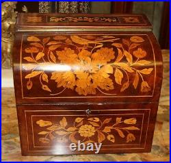 STUNNING Dome Top Dutch Flemish Marquetry Inlaid Walnut Satinwood Jewelry Box