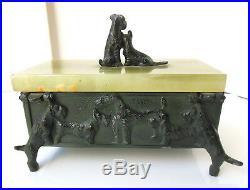Scottie or Welch Terrier Dogs Metal Wood, Green Onyx Jewelry/Trinket Box 1930's