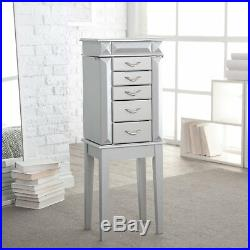 Silver Modern Glam Freestanding Jewelry Armoire Storage Cabinet Jewelry Box