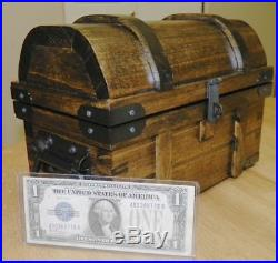 Silver Slacker Reinforced Coin Treasure Chest Handcrafted Wood 2 Sizes