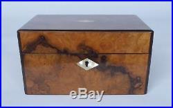 Small Antique French Walnut Burr Jewellery Box with MOP inlay & Ebonized Edging