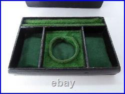 Small Antique Victorian Black Leather Pocket Watch Jewellery Box Tray Key c1900