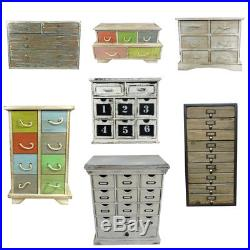 Small Drawer Cabinet Vintage Distressed Wood Jewellery Box Chest Storage Unit
