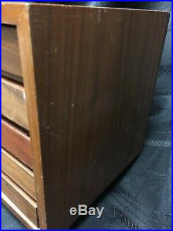 Small Mid Century Crafts Jewelry Box Wood Cabinet Storage Teak