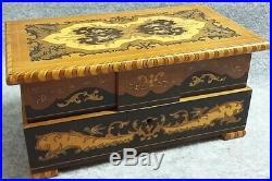 Sorrento Olive Wood Marquetry Jewellery Music Box Dancing Ballerina Vintage