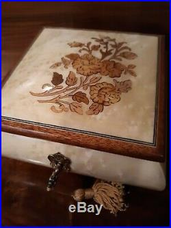 Sorrento Reuge Inlaid Burl Wood Music & Jewelry Box With Keyexcellent Condition
