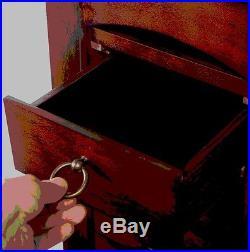 Stand Up Jewelry Box Mirrored Armoire Cabinet Wooden Storage Chest Organizer