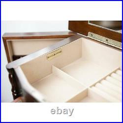 Standing Jewelry Armoire Cabinet Organizer Storage Mirror Lockable Walnut Wood