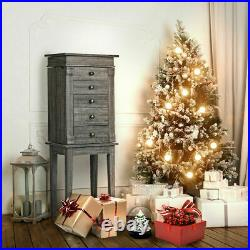 Standing Jewelry Cabinet Organizer Wood Legs Mirror &5 Drawers Christmas Gift