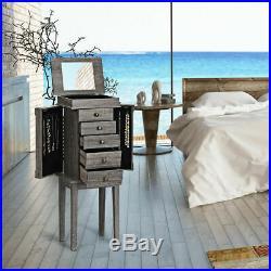 Standing Jewelry Cabinet Storage Organizer Wood Legs Mirror&5 Drawers Christmas