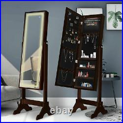 Standing Jewelry cabinet with Full Length LED Touch Screen Lighted Mirror
