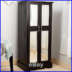 Standing Wood Jewelry Armoire Storage Cabinet 7 Drawers Box Chest Mirrored Doors