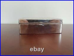 Sterling Silver 950 Cigarette Case Jewelry Trinket Dresser Box Wood Lined Mono