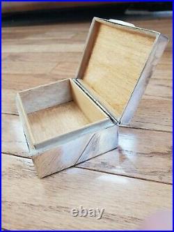 Sterling Silver Cigarette Case Jewelry Trinket Dresser Box Wood Lined Mono P