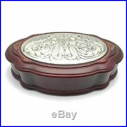 Sterling Silver Repousse Marquetry Wood Jewelry Box By Valori Italy Mythological