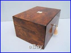 Superb 19c Burr Walnut Antique Jewellery/vanity Box Fab Interior Dated 1861