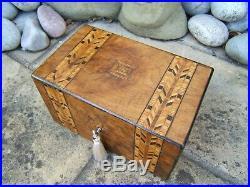 Superb 19c Figured Walnut Inlaid Antique Jewellery Box Fab Interior