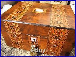 Superb 19c Inlaid Figured Walnut Antique Inlaid Jewellery Box Fab Interior