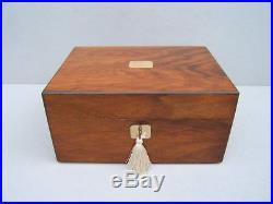 Superb 19c Inlaid Figured Walnut Antique Jewellery Box Fab Interior
