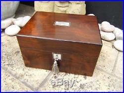 Superb 19c Rosewood Antique Jewellery/vanity Box Fab Interior -dated 1862
