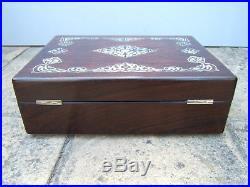 Superb 19c Rosewood Inlaid Antique Document/jewellery Box Fab Interior