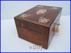 Superb 19c Rosewood Inlaid Antique Jewellery/vanity Box Fab Interior