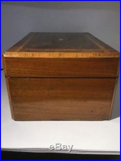 Superb 19c Victorian Inlaid Burr Walnut Antique Jewellery Box Cross Band