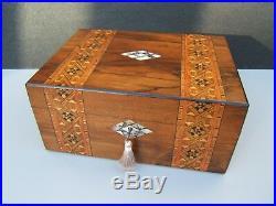 Superb 19c Victorian Walnut Antique Inlaid Jewellery Box Fab Interior