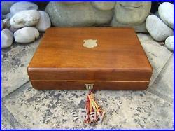 Superb 19c Walnut Inlaid Antique Document/jewellery Box Fab Interior