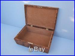 Superb Early 19c Burr Elm/ Walnut Antique Document/jewellery Box Fab Interior