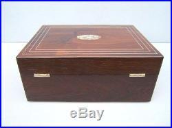Superb Large 19c Victorian Inlaid Rosewood Antique Jewellery Box Fab Interior