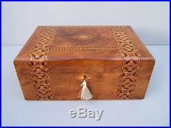 Superb Large 19c Victorian Inlaid Walnut Antique Jewellery Box Fab Interior
