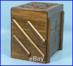 Swiss Black Forest Wood Carving JEWELRY MUSIC BOX 3-Tier Mirror withKEY Brienz