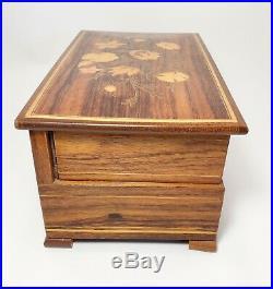 Swiss Reuge Dancing Ballerina Music Box Jewelry Wood Inlay Case Vintage W Key