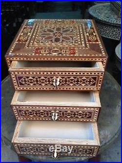 Syrian Handmade Marquetry Inlaid Mosaic Wooden Jewelry Box (18x18x18 cm)