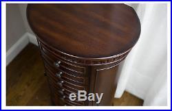 Tall Jewelry Armoire Walnut Mirrored Oval Chest Box Storage Wood Organizer NEW