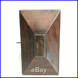 Tea Caddy Vtg Antique Wood Box Jewelry Trinket 7.75 X 5 X 4.5 MOP Keyhole