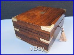 Terrific 19c Antique Rosewood Document/jewellery Box Fab Interior