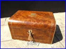 Terrific 19c Burr Walnut Antique Jewellery/vanity Box Fab Interior -dated 1873