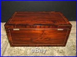 Terrific 19c Figured Mahgoany Antique Document/jewellery Box Fab Interior