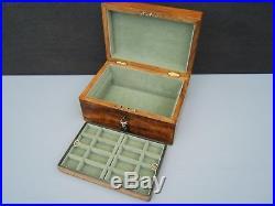 Terrific 19c Figured Olivewood Antique Jewellery Box Fab Interior