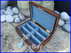 Terrific 19c Figured Rosewood Inlaid Antique Jewellery Box Fab Interior