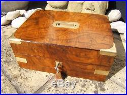 Terrific 19c Figured Walnut Antique Document/jewellery Box Fab Interior